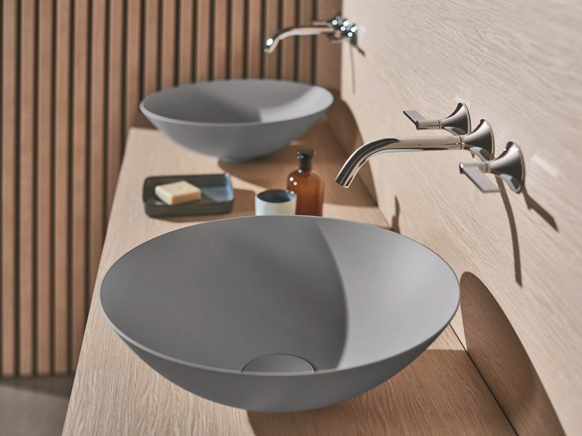 Countertop round glazed steel washbasin TERRA by Alape