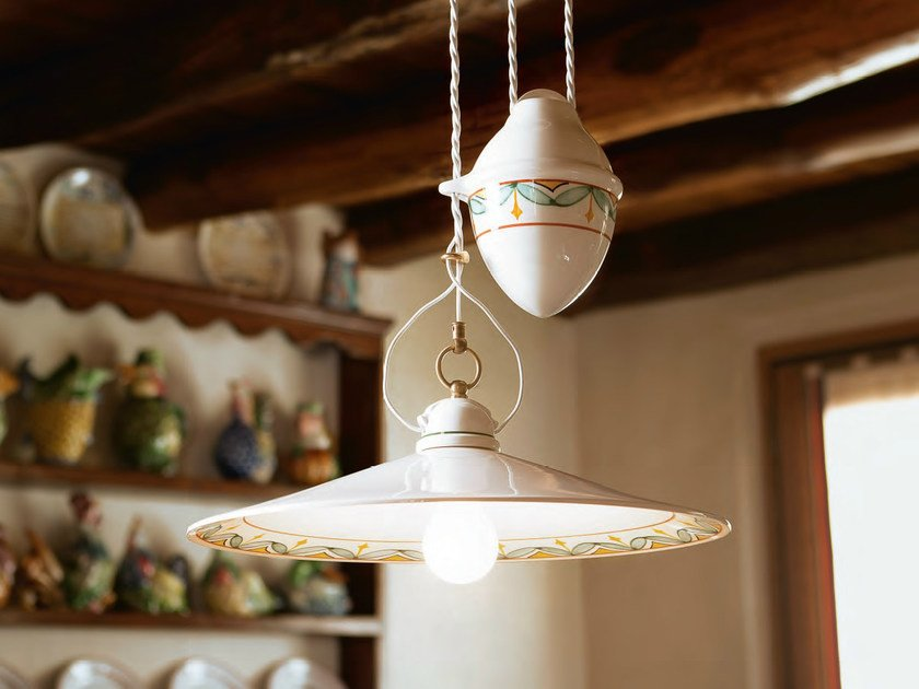 Direct-indirect light ceramic pendant lamp TESA | Ceramic pendant lamp by Aldo Bernardi