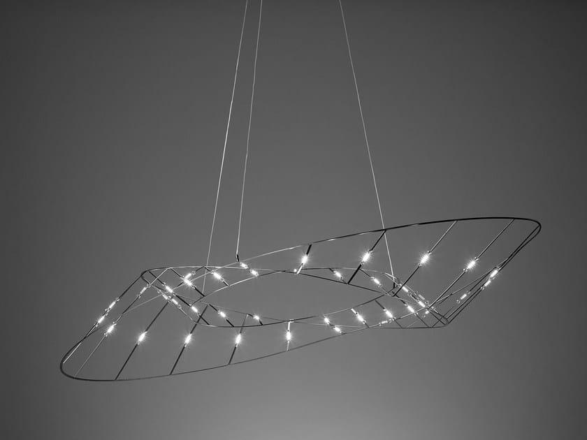 LED direct light steel pendant lamp TESA by Sforzin