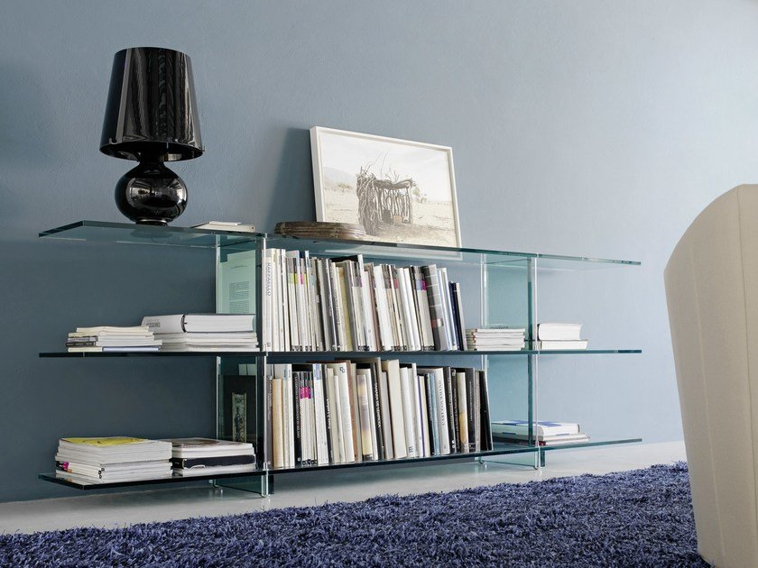 Rectangular float glass console table TESO | Console table by FontanaArte