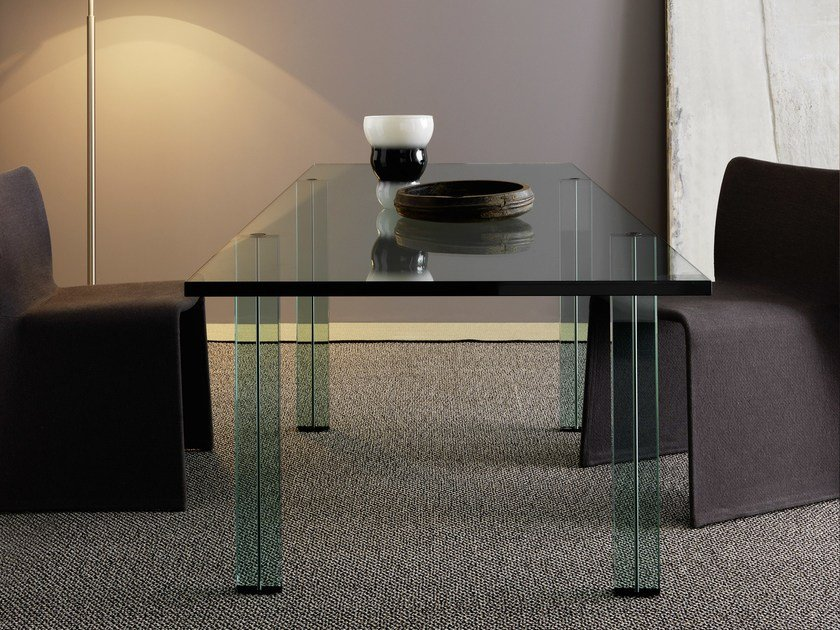 Rectangular float glass table TESO | Table by FontanaArte