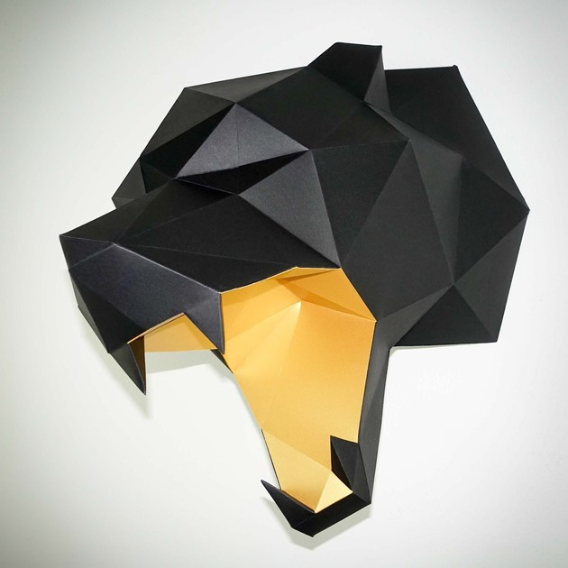 Paper wall decor item BEAR HEAD by Papertrophy