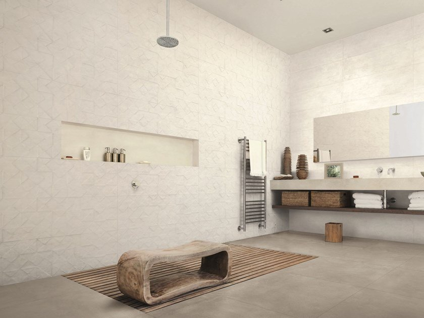 Wall/floor tiles with concrete effect TEXCEM by Ragno