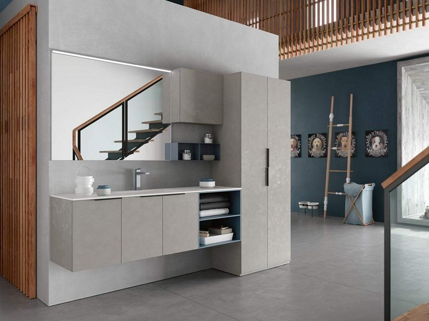 Laundry room cabinet with mirror for washing machine THAI 327 by RAB Arredobagno