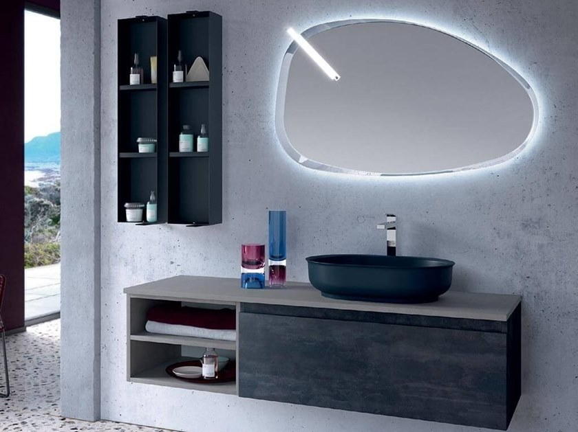 Wall-mounted vanity unit with cabinets THAI 311 by RAB Arredobagno