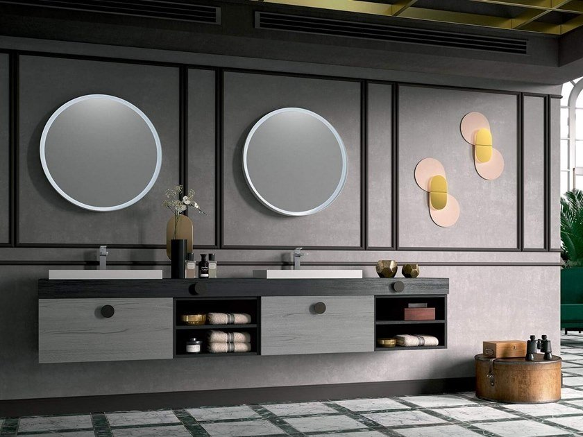 Wall-mounted vanity unit with mirror THAI 314 by RAB Arredobagno