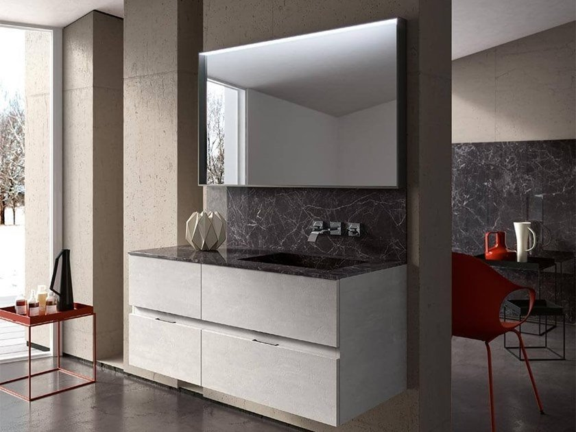 Wall-mounted vanity unit with mirror THAI 319 by RAB Arredobagno