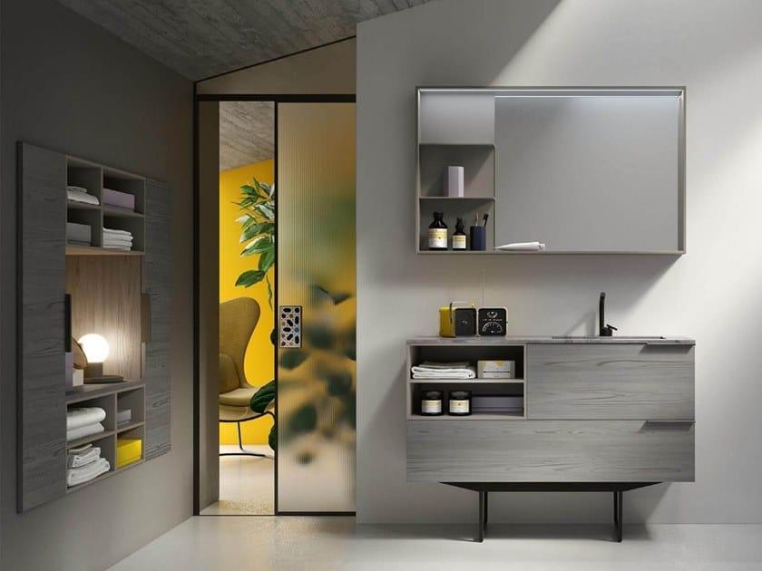 Floor-standing vanity unit with mirror THAI 320 by RAB Arredobagno