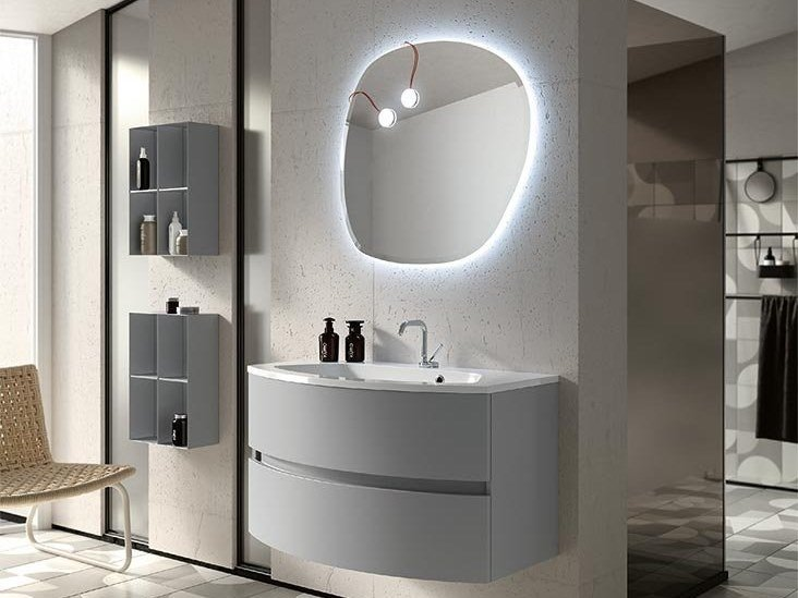 Wall-mounted vanity unit with mirror THAI 323 by RAB Arredobagno