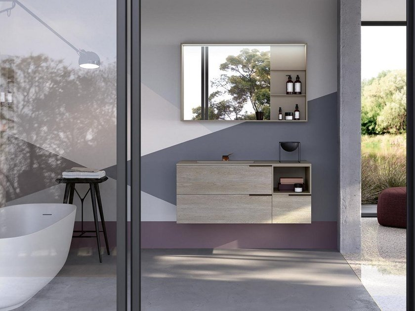 Wall-mounted vanity unit with mirror THAI 324 by RAB Arredobagno