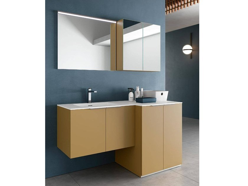 Laundry room cabinet with mirror for washing machine THAI 328 by RAB Arredobagno