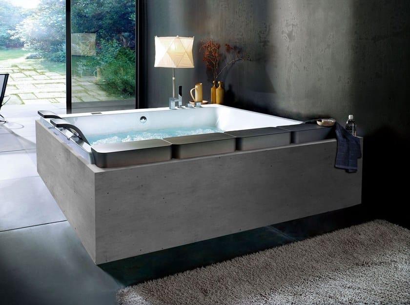 Whirlpool rectangular acrylic bathtub THAIS ART by Blu Bleu