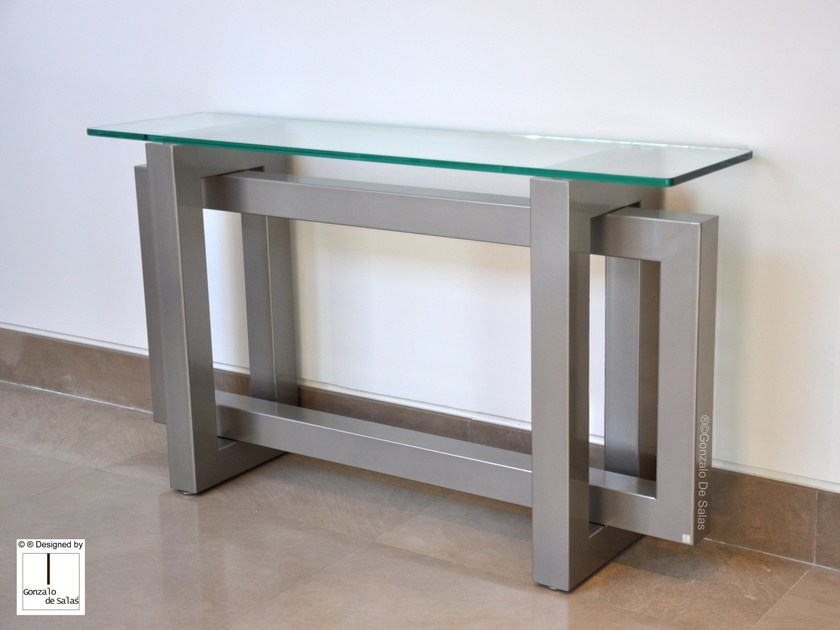 Rectangular glass and iron console table THASOS | Console table by Gonzalo De Salas