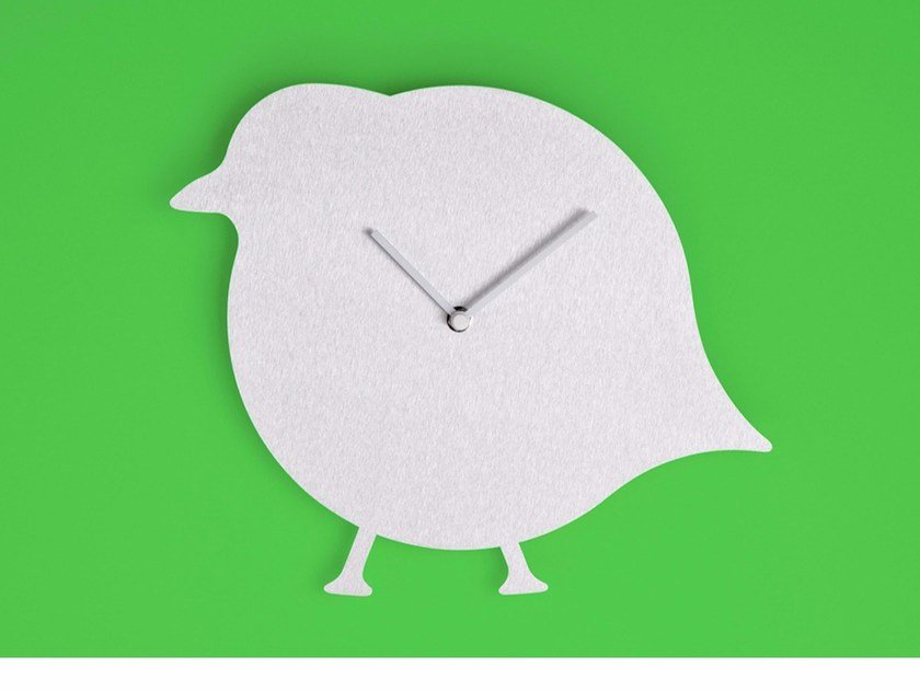 Wall-mounted aluminium clock THE BIRD by Round Animals Design