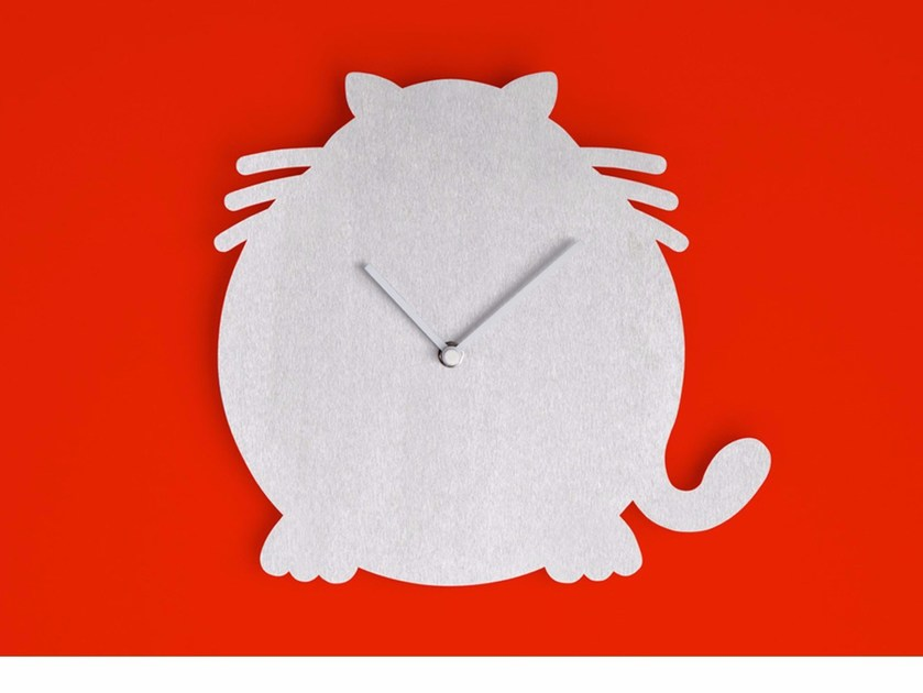 Wall-mounted aluminium clock THE CAT by Round Animals Design