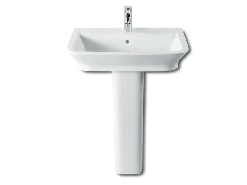 Single ceramic washbasin with overflow THE GAP   Pedestal washbasin by ROCA SANITARIO