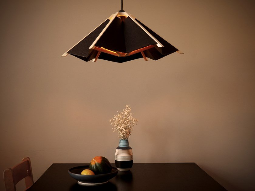 Wood and leather pendant lamp THE HANGING GARDEN by Atelier C.U.B