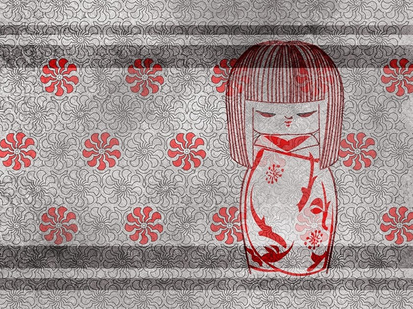 Oriental wallpaper, PVC free, eco, washable THE KOKESHI DOLL by Wallpepper Group