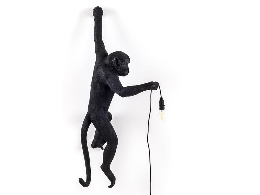 LED resin wall lamp THE MONKEY LAMP BLACK HANGING by Seletti