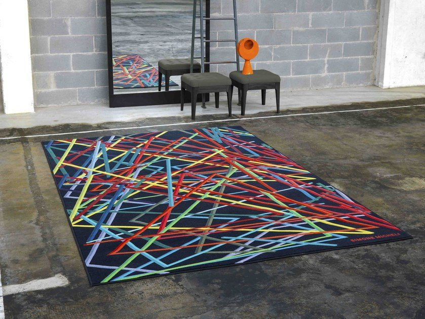 Rectangular rug with geometric shapes THE NET by Besana Moquette