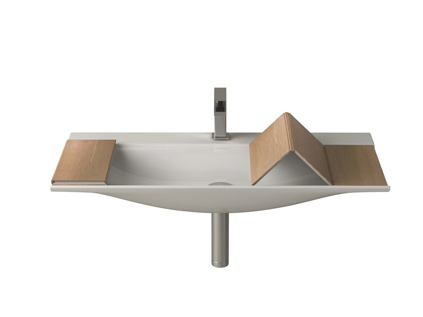 Lavabo rectangulaire simple suspendu en céramique THE ONE | Lavabo by Artceram
