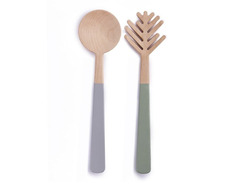Wooden salad serving set THE PINE NEEDLE by Namuos
