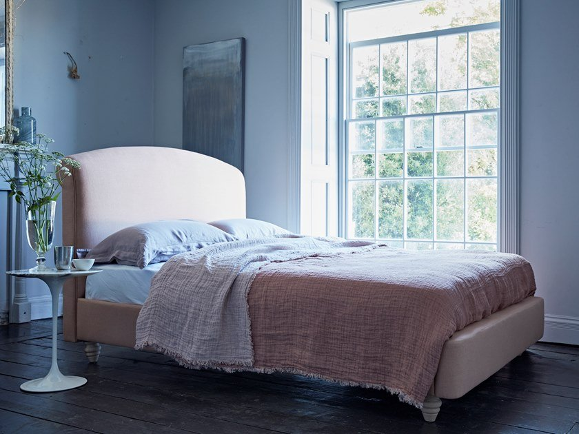 Upholstered fabric bed with upholstered headboard THE SOMMEIL by Naturalmat