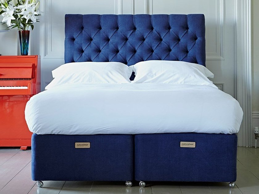 Upholstered fabric bed with tufted headboard THE VANSTONE | Bed by Naturalmat