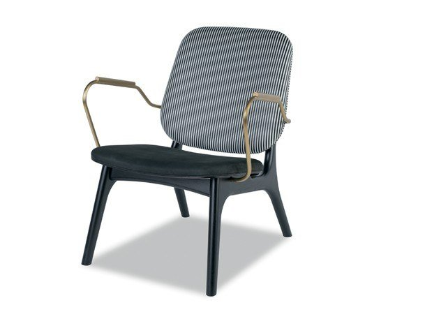 Leather easy chair with armrests THEA by BAXTER
