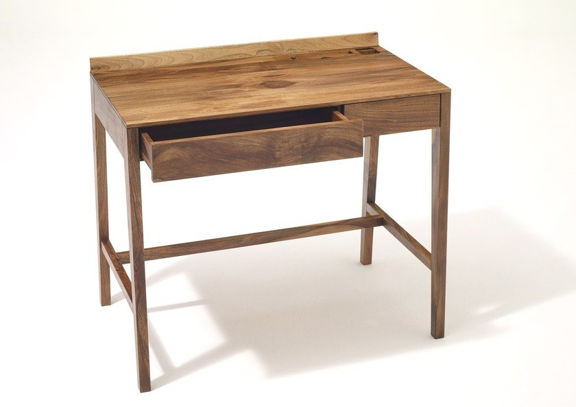 Rectangular Solid Wood Writing Desk With Drawers Theo Light By