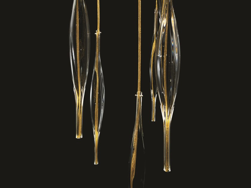 Contemporary style glass pendant lamp THETA by melogranoblu