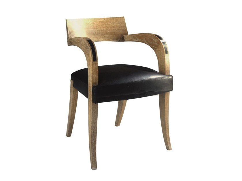 Leather chair with armrests THIERRY by Laval