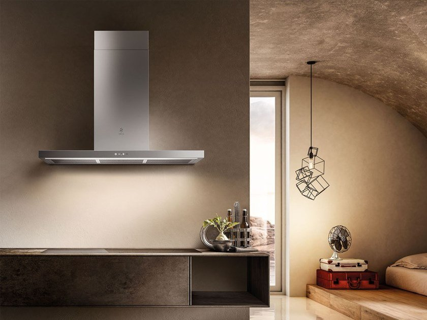 Wall-mounted stainless steel cooker hood with integrated lighting THIN by Elica