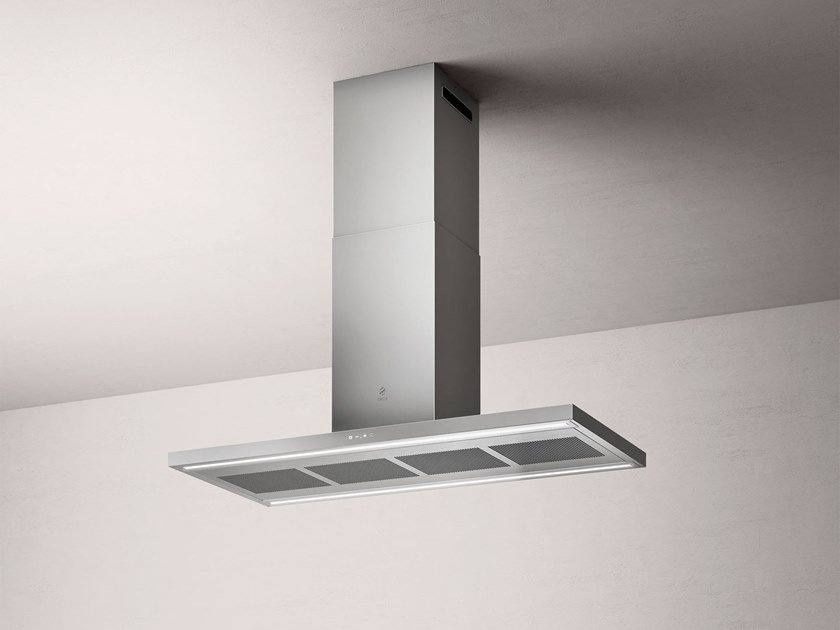 Stainless steel island hood with integrated lighting THIN ISLAND by Elica