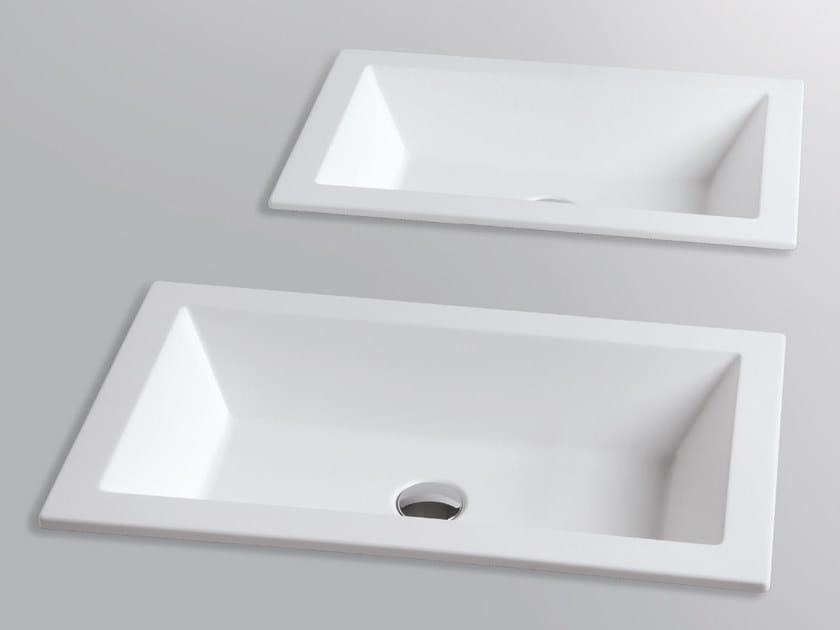 Inset rectangular ceramic washbasin THIN   Inset washbasin by Azzurra Ceramica