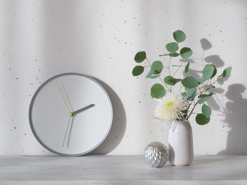 Wall-mounted steel clock THIN by TEO