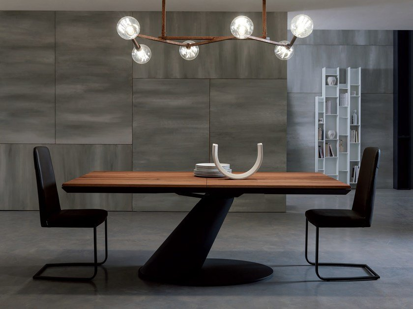 Extending rectangular wooden dining table THOR by Ozzio Italia