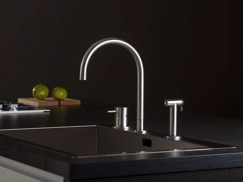 Stainless steel kitchen mixer tap with spray THREE | 3 hole kitchen mixer tap by MINA