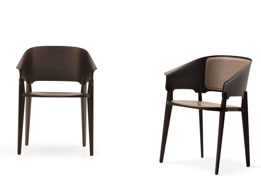 Wooden chair with armrests THREEPIECE by Busnelli