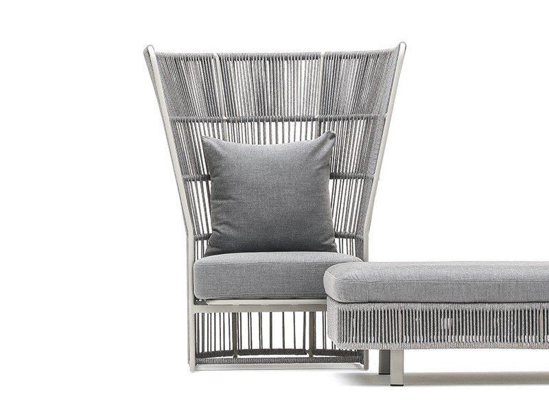 High-back armchair with synthetic fiber weaving TIBIDABO | High-back armchair by Varaschin