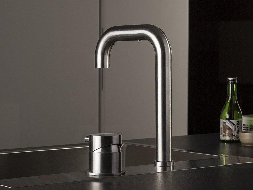 Stainless steel kitchen mixer tap with pull out spray TIDE OVER | 2 hole kitchen mixer tap by MINA