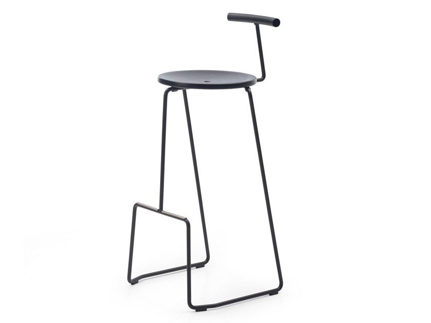 High sled base steel stool with back TIKI | Stool with back by Extremis