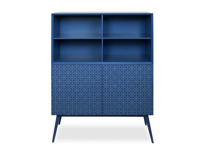 Lacquered wooden highboard with doors TILES | Highboard by Barba design