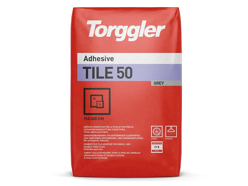 Cement adhesive for flooring TILE 50 by Torggler Chimica