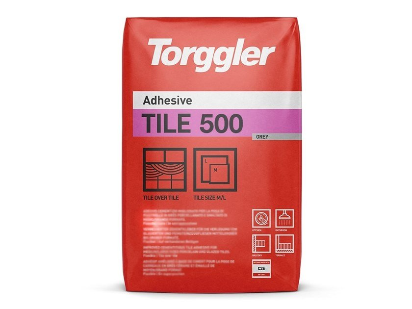 Cement adhesive for flooring TILE 500 by Torggler Chimica