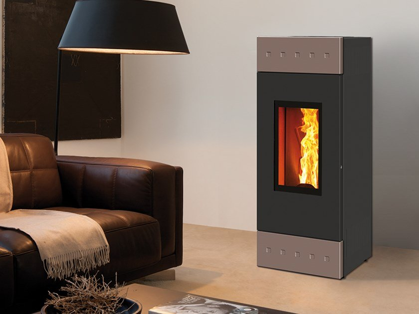 Pellet Class A+ wall-mounted steel stove TILE EVO by CAMINETTI MONTEGRAPPA