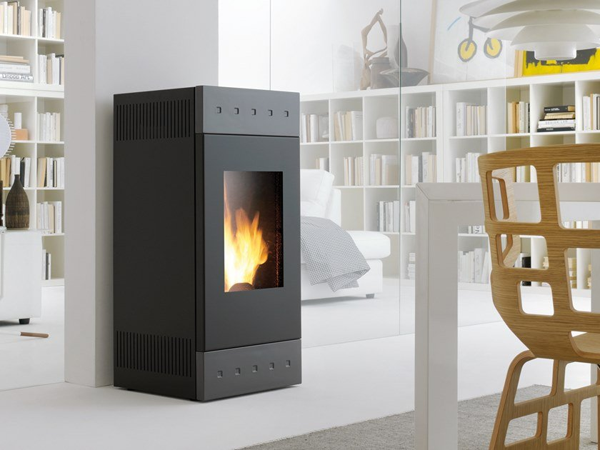 Pellet Class A+ wall-mounted steel stove TILE XW   Pellet stove by CAMINETTI MONTEGRAPPA
