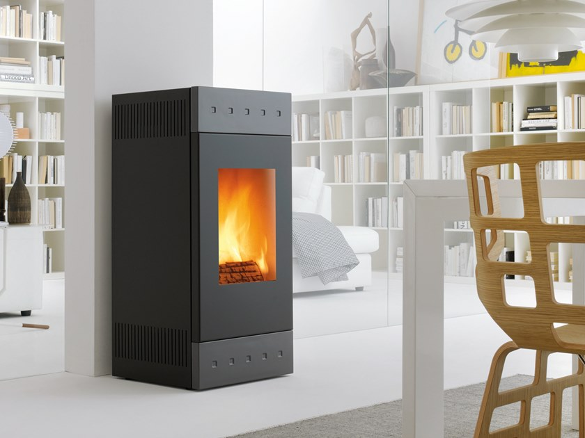 Wood-burning Class A wall-mounted steel stove TILE XW | Wood-burning stove by CAMINETTI MONTEGRAPPA