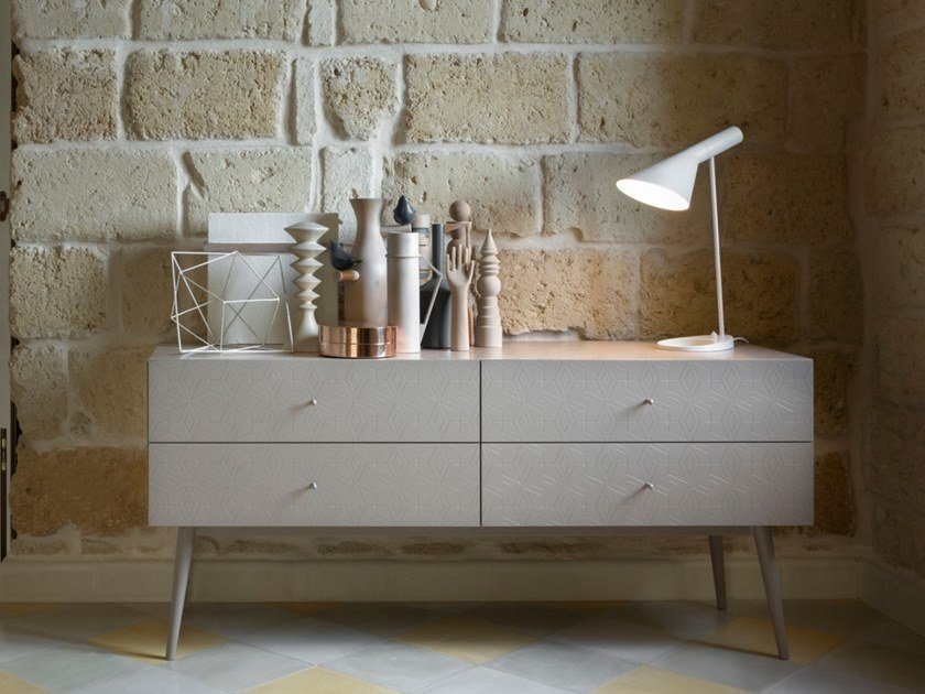 Lacquered wooden chest of drawers TILES | Chest of drawers by Barba design