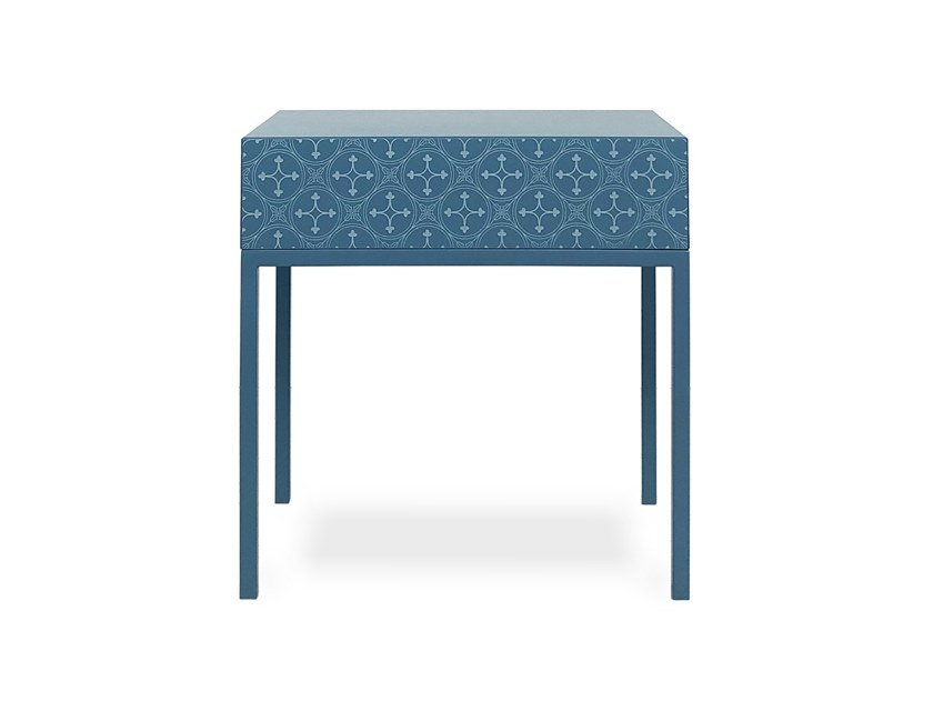 Lacquered rectangular HDF bedside table with drawers TILES | Bedside table by Barba design